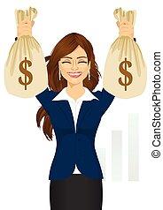 sacs, femme affaires, argent, dollar, deux, tenue, grand