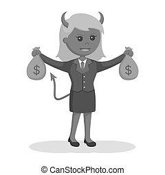 sacs, femme affaires, diable, argent