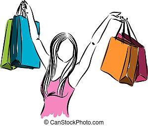sacs, femme, illustrati, achats