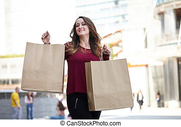 sacs, femme, porter, achats