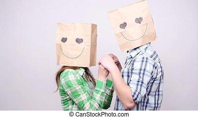 sacs, femme, têtes, gris, couple, ensemble, fond, sur, homme