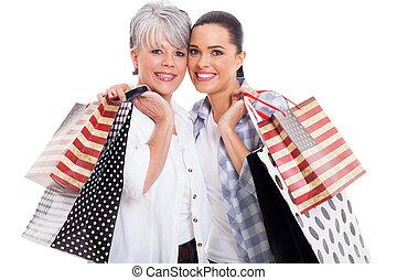 sacs, fille, porter, adulte, mère, achats