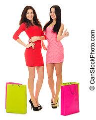 sacs, filles, deux, jeune