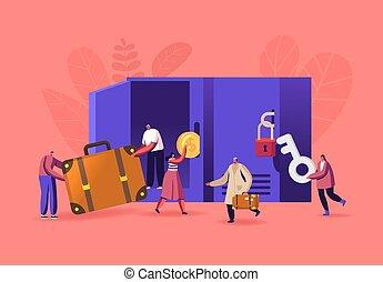 sacs, garder, bagages, bagage, stockage, casiers, mettre, gens, caractères, usage, r, ou, aéroport, supermarket., mâle, femme