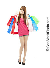 sacs, girl, achats, asiatique, heureux