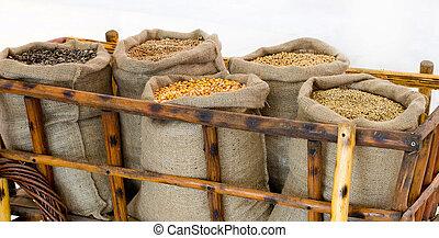 sacs,  grains, brouette