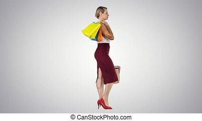sacs, heureux, multicolore, shopping!, gradient, womanholding, achats, marche, arrière-plan.