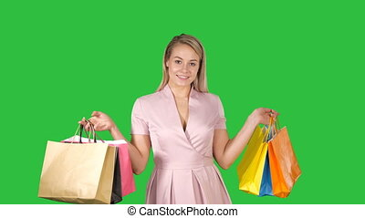 sacs, iwhile, achats femme, chroma, marche, écran, vert, key., tenue, sourire heureux