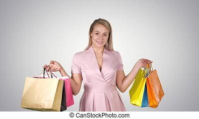 sacs, iwhile, achats femme, gradient, marche, arrière-plan., tenue, sourire heureux