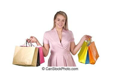 sacs, iwhile, achats femme, marche, arrière-plan., tenue, sourire, blanc, heureux