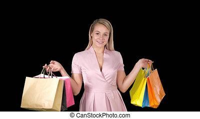 sacs, iwhile, achats femme, marche, tenue, alpha, sourire, canal, heureux