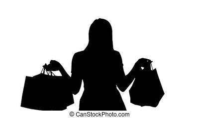 sacs, iwhile, achats femme, marche., tenue, silhouette, sourire heureux