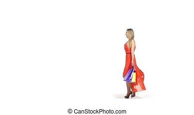 sacs, lent, achats, blond, beau, mouvement, fond, girl, robe, blanc rouge, sourire