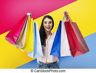 sacs, main., achats femme, heureux