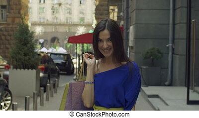 sacs, marche, achats femme, élégant, rue