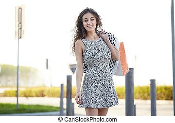 sacs, marche, achats femme, été, jeune