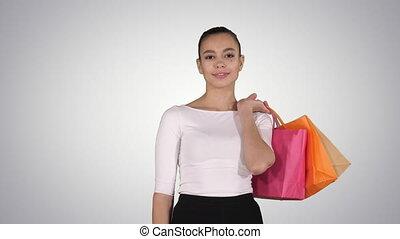 sacs, marche, achats femme, gradient, shopping!, laissons, arrière-plan., aller