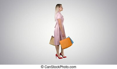 sacs, marche, achats, tenue, gradient, arrière-plan., jolie fille, heureux