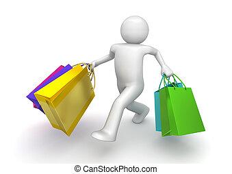 sacs, marche, acheteur, (3d, isolé, papier, fond, blanc