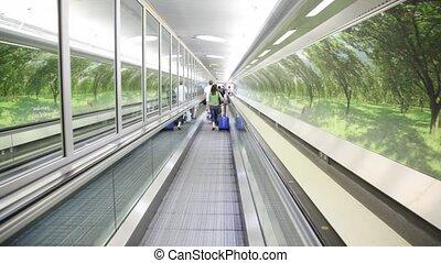 sacs, marche, escalator, gens, dos, uk., londres, vue