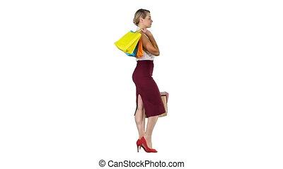 sacs, marche, womanholding, achats, shopping!, multicolore, arrière-plan., blanc, heureux