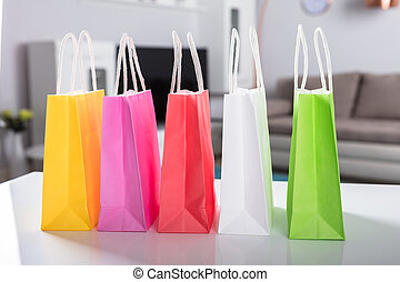 sacs, multi, achats, coloré, bureau