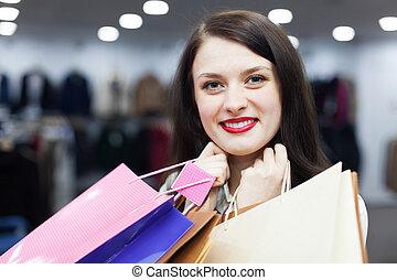 sacs, ordinaire, achats femme