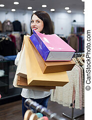 sacs, ordinaire, achats, girl