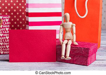 sacs, papier, achats, card., vide