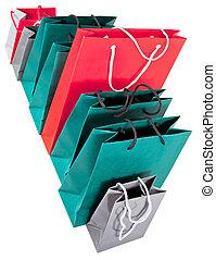 sacs, papier, achats, lot