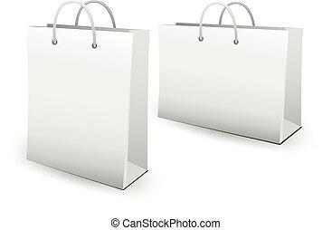 sacs, papier, achats