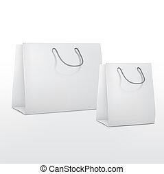 sacs, papier, achats, vide