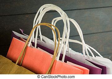 sacs papier, concept, achats, vente