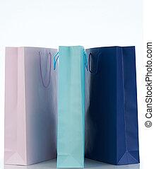 sacs, papier, groupe, coloré