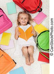 sacs, peu, coloré, plancher, livres école, mensonge, girl, préscolaire