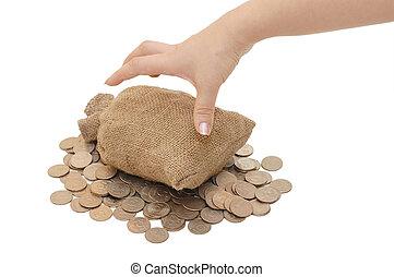 sacs, pièces, portée, isolé, main