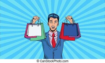sacs, pop, animation, art, homme affaires, achats