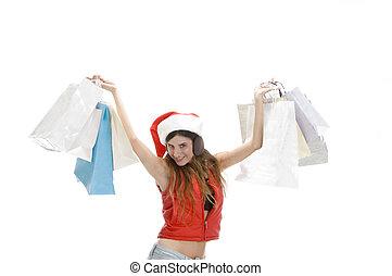 sacs, projection, achats femme, heureux