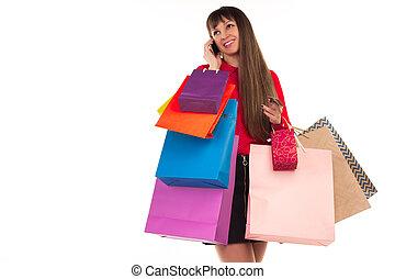 sacs provisions, carte de débit, téléphone, conversation, papier, girl