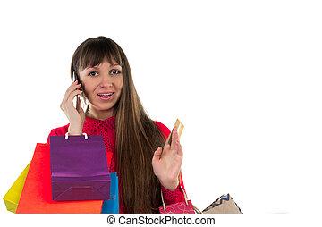 sacs provisions, coloré, téléphone, carte bancaire, crédit, papier, girl