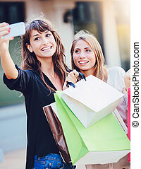 """sacs provisions, """"selfie"""", filles, prendre, beau"""