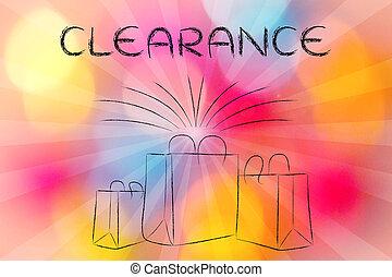 sacs, rayons, achats, texte, boutique, retro, dégagement