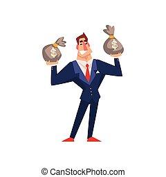 sacs, riche, réussi, argent, caractère, illustration, vecteur, fond, homme affaires, blanc, dessin animé