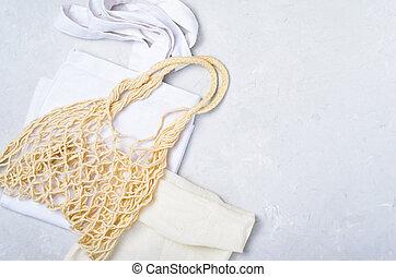 sacs, sacs provisions, concept, eco, zéro, maille, gaspillage, amical, coton