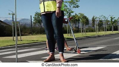 sacs, scooters, route, école, équitation, croisement, ...