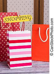 sacs, shopping., carte, cadeau, inscription