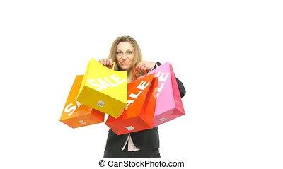 sacs, tenue, achats femme