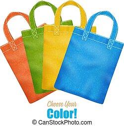sacs, toile, coloré, tote, collection, annonce