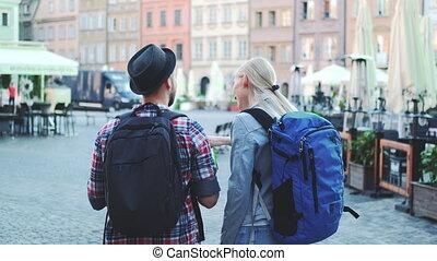 sacs, touristes, carrée, couple, vue ville, carte, central, ...