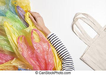 sacs, usage, achats femme, non, bag., plastique, unique, concept, choisir, ambiant, refuses, réutilisable, plastique, pollution